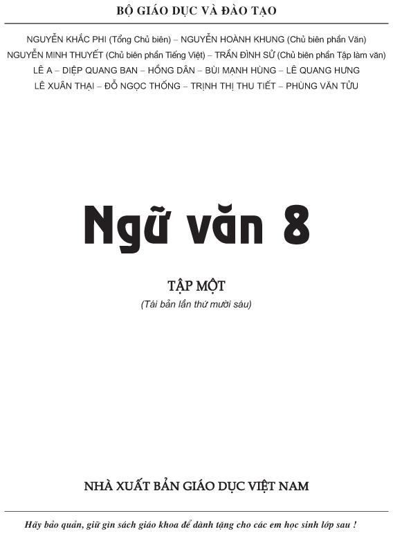 Sách Giáo Khoa Ngữ Văn 8 Tập 1